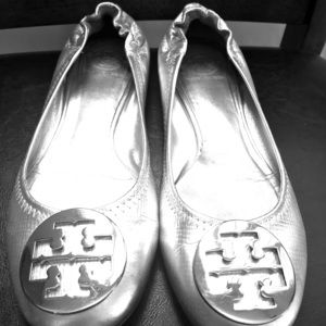 Tori Burch ballet flat silver leather